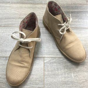 Bronx Lace-up Textured Cream Ankle Booties 41/9.5